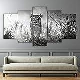 DBFHC Cuadros Modernos Impresión De Imagen Artística Digitalizada León Animal Salvaje En Blanco Y Negro Lienzo Decorativo para Salón O Dormitorio 5 Piezas XXL