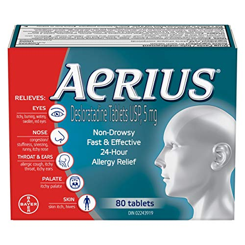 Aerius Allergy Medicine, Fast Relief, 24-Hour, non-drowsy, 15 Symptoms 80 count