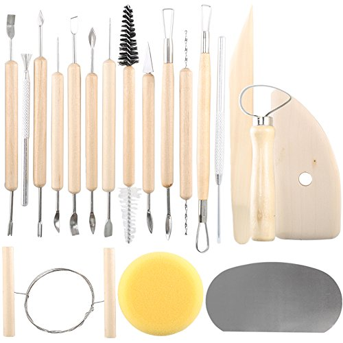 INNKER 19pcs Clay Sculpting Tools Wooden Pottery Tools Art Clay Pottery Tool Set Fimo Plaster Wax Sculpture Carving Modeling