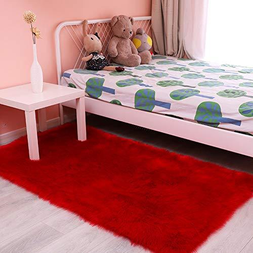Love House Super Suave Piel Imitación Sintética Alfombra, Pelo Largo Furry Alfombra De Alfombras para Dormitorio Suelo Shaggy Felpa Alfombra Artificial Alfombras De Cabecera-Rojo 80x120cm(31x47inch)
