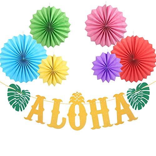 ZERHOK Hawaiian Party Decor Set, Aloha Banner Hawaiian Garland Tropical Luau Tiki Party Decor with Colourful Hanging Honeycomb Paper Fans for Beach Pool Summer Party Supplies