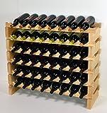 Modular Wine Rack Beechwood 32-96 Bottle Capacity 8 Bottles Across up to 12 Rows Newest Improved Model (48 Bottles - 6 Rows)