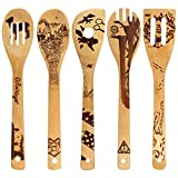 Burned Wooden Utensils Cooking Set Organic Bamboo Slotted Spoons Turners Carved Spatulas for Cookware Kitchen Gadgets