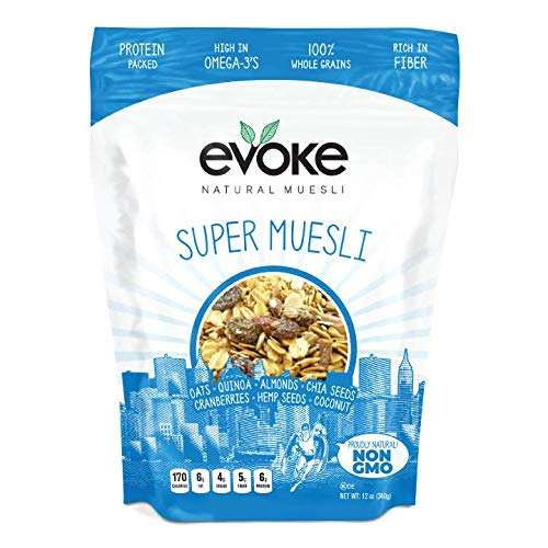 Evoke Super Muesli Gluten Free Cereal, 12 oz - Low Sugar, Enjoy Cold or Hot! Overnight Oats!