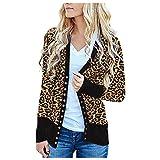 Dicomi - Felpa da donna con motivo leopardato, a maniche lunghe, casual, con scollo a V, per outwear Nero XL
