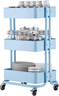 Kitchen Storage Trolley, 3-Tier Metal Rolling Utility Cart, Multifunction Mesh Basket Standing Shelf with Wheels, for Bath...