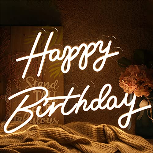 ATOLS Happy Birthday Neon Sign for Wall Decor, with Dimmable Switch, Reusable Happy Birthday Neon...