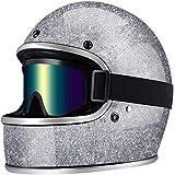 ZHXH Casco moto retrò Casco integrale anti-collisione unisex adulto in fibra di vetro con occhiali - Dot certificato Ece,