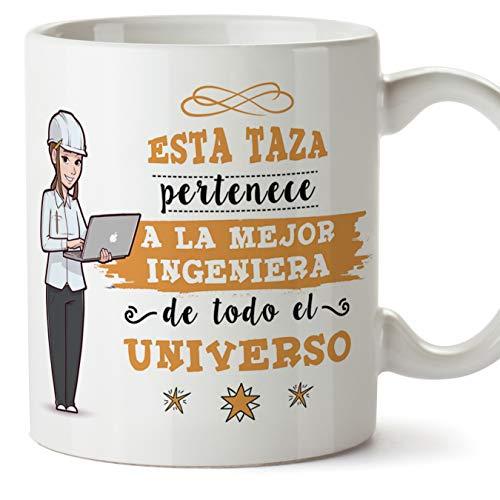 MUGFFINS Ingeniera Tazas Originales de café y Desayuno para Regalar a Trabajadores Profesionales - Esta Taza Pertenece a la Mejor Ingeniera del Universo - Cerámica 350 ml