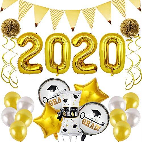2020 - Decoración para fiesta de graduación, diseño de globos, color dorado