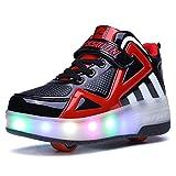Kids LED Light Up Single Double Wheel Roller Skate Shoes Girls Boys Sneaker