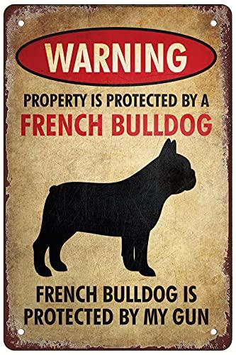 RosefinchStone Beware of French Bulldog Funny Retro Tin Sign Wall Art Decoration 12x8 inch