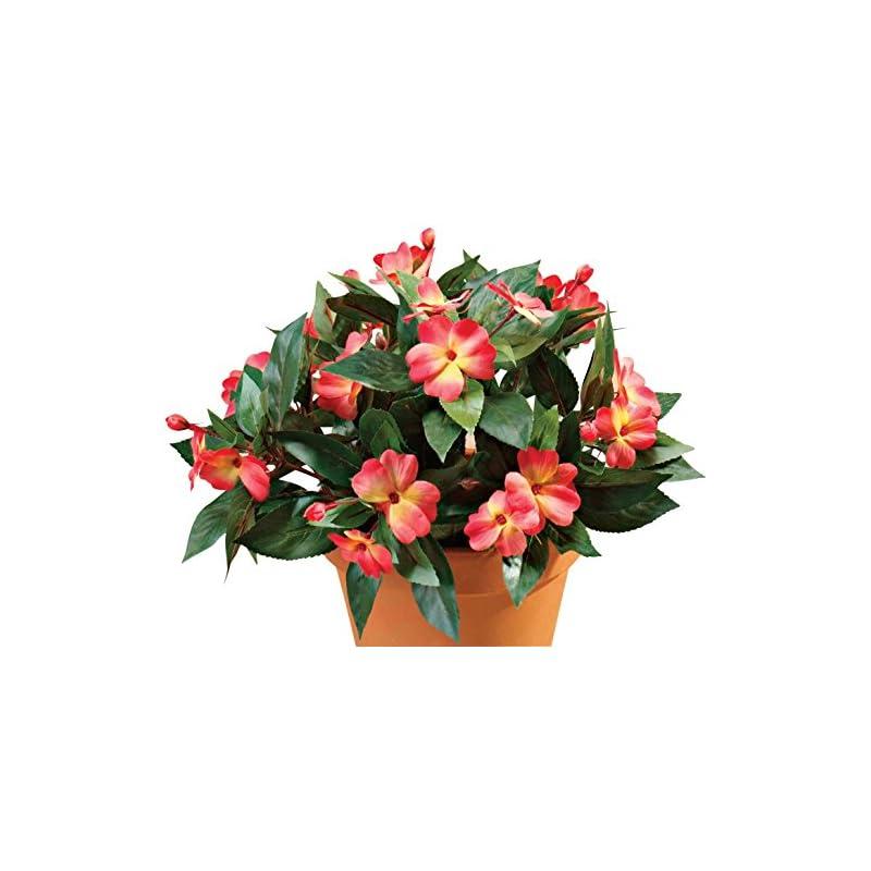 "silk flower arrangements oakridge silk impatiens bush – artificial flowers outdoor décor – orange, 18"" high"