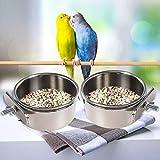 2PCS Parrot Feeder, Bird Feeding Dish Cups, Bird Bowl, Parrot Food Bowl, Bird Feeder for Cage, Feeding Coop Cups, Bird Cage Water Bowl for Small Animal, Parakeet , African Greys Conure, Cockatiels