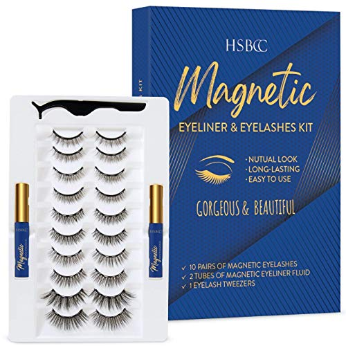 HSBCC Updated 10 pairs 3D 6D Magnetic Eyelashes Kit, Double Magnetic Eyeliner and Magentic Eyelashes Kit, Reusable Natural Look False Lashes