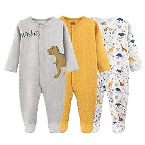 Bebé Mameluco Mono de Algodón Niños Niñas Body Pack de 3 Peleles para Dormir Manga Larga Comodo Pijama de Recien Nacido, 6-9 Meses
