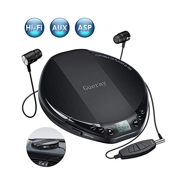 Portable CD Player for Car HiFi Lossless Small CD Player with Headphone CD Discman Compact Disc Personal Walkman Player Shockproof Anti-Skip 3