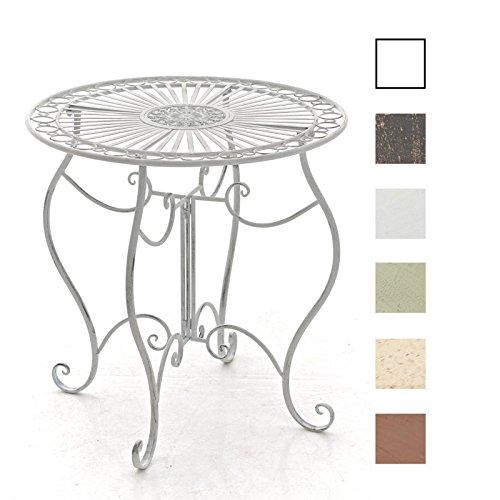 CLP Table de Jardin Ronde Indra avec Diamètre Ø 70 cm | Table en Fer Forgé pour Usage Extérieur au Jardin, sur la Terrasse ou au Balcon | Piètement Galbé en Métal, Couleur au Choix: Blanc Antique