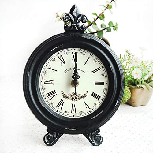 Reloj de escritorio decorativo retro nostálgico de madera para escritorio, diseño de figura clásica, retro, fácil de regalo, color negro