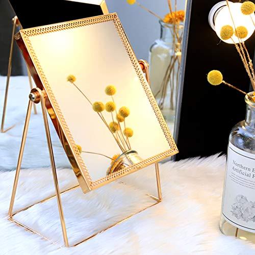 WAYCOM Makeup Mirror,Golden Makeup Mirror Vanity Decorative Mirror Cosmetic Mirror,Decorative Table Mirror 360° Rotatable,Romantic Birthday Wedding Christmas Gifts(Square)