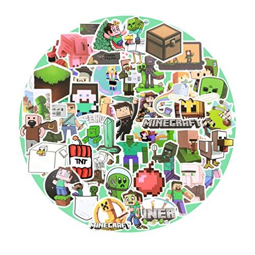 Minecraft Aufkleber, 50 Stück, Gaming-Aufkleber, Vinyl, Laptop, wasserdicht, Aufkleber, Wasserflasche, Skateboard, Autoaufkleber für Kinder, Teenager, Erwachsene (Minecraft)