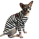 Hofun4U Hairless Cat Cotton Clothes, Sphynx Breathable Summer T-Shirts Stripe Vest Pet Clothes, Soft Skin-Friendly Cats & Small Dogs Apparel Pajamas