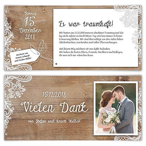 40 x Hochzeit Dankeskarten Danksagungskarten individuell mit Ihrem Text und Foto DIN Lang 99 x 210 mm - Rustikal mit weißer Spitze