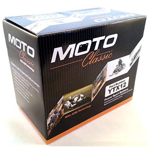 Moto Classic YTX12 12V 12Ah Sealed Maintenance Free 220CCA Motorcycle Battery