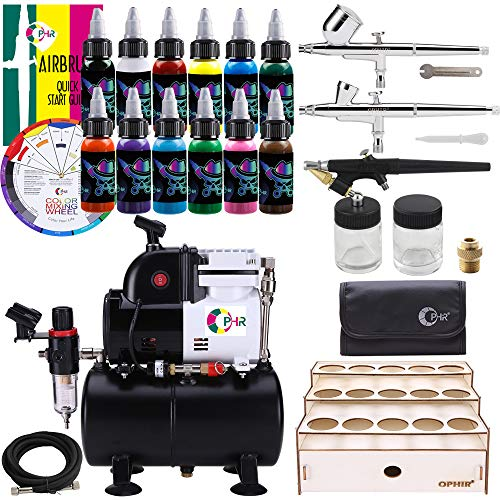 OPHIR Professional 3X Airbrush Kit & 3L Air Compressor Tank with 12 Colors Set Acrylic Paint & Wooden Paint Rack for Model Hobby Crafts Painting
