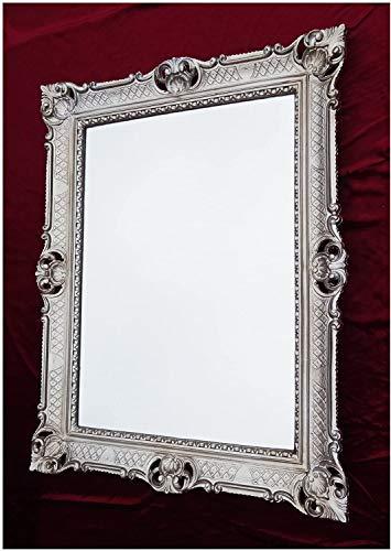 Espejo de Pared Barroco Espejo Espejo en antiksilber 90x 70cm Antiguo Barroco rococó Shabby Chic Renaissance Juvenil Estilo Retro diseño con Ornamentos verziehrungen prunk Completo de Lujo