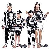 Convict Costume Prigioniero Cosplay Abbigliamento Carnevale Halloween Travestimento per bambini adulti. Il pacchetto include: 1 * Costume di Halloween. Adatto a feste, compleanni, fotografia, carnevale, Halloween, Natale. Tessuto di alta qualità, alt...
