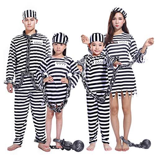 Wetry Costume Carcerato Prisoner Travestimento da Detenuto Righe Bianche e Nere per Uomo Donna Bambina Bambini Carnevale Halloween Feste/XL
