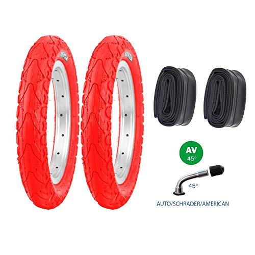 P4B   2X 12 Zoll Kinderreifen in Rot (62-203) mit AV Schläuchen   12 1/2 x 2 1/4   Laufradreifen mit Breiten Mittelsteg für mehr Stabilität beim Fahren