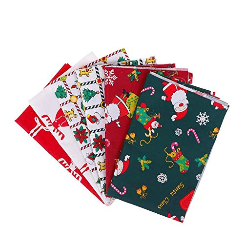 OBANGONG 6Pcs Christmas Cotton Fabric Quilting Fabric Patchwork 50X40cm Precut Fabric Scraps for DIY Quilting for Xmas Sewing Crafting