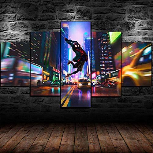 45Tdfc 5 Piezas Arte Pared Lienzo Spider: en la Vista Nocturna de la Ciudad de Spider-Verse HD Pintura Cartel ImpresióN -Wall Lona Paintings -Escena Sala Estar Oficina DecoracióN