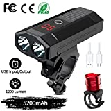 WAKYME Bike Light Set, 5200mAh USB Rechargeable Bicycle Light with Power Bank Function and Intelligent LED...