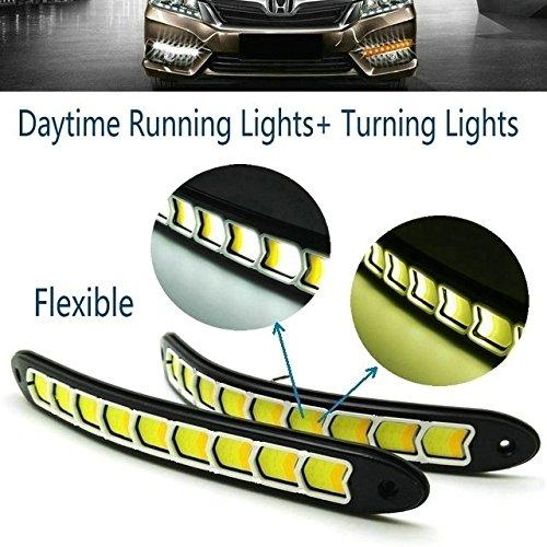 Heinmo 2 x LED Feux de Jour étanche DRL brouillard lampe avec tour Signal ampoules LED Blanc + Jaune lumières