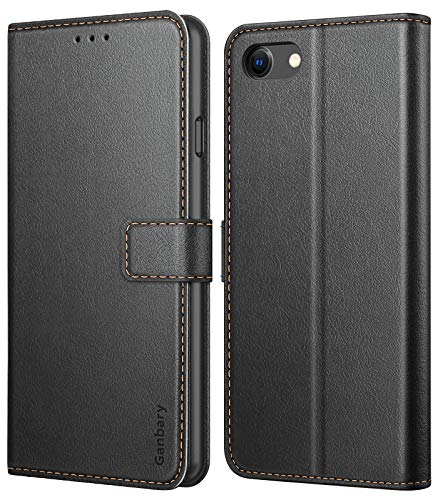 Ganbary Handyhülle für iPhone SE 2020/ iPhone 7 / iPhone 8 Hülle, Premium Leder Tasche Flipcase [Kartenschlitzen] [Standfunktion] kompatibel mit iPhone SE 2. Generation Schutzhülle, Schwarz