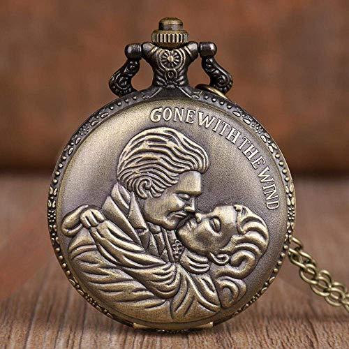 J-Love Vom Winde verweht Klassische Quarz-Taschenuhr Retro Bronze Halskette Anhänger Kette Taschenuhren Kunst Sammlerstücke Geschenke