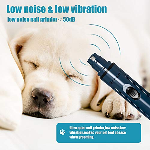 Boence Dog Nail Grinder,Pet Nail Grinder, Adjustable Power 2-Speed Electric Rechargeable Pet Nail Trimmer Painless Paws Grooming & Smoothing for Small Medium Dogs & Cats (Blue)