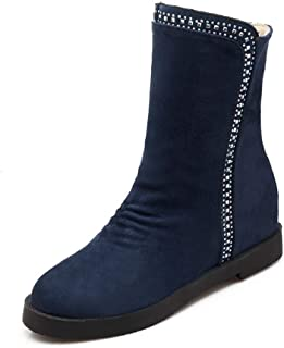Women Mid Calf Boots Wedge Winter Faux Suede Height Increasing Slip-On Round Toe Short Boot