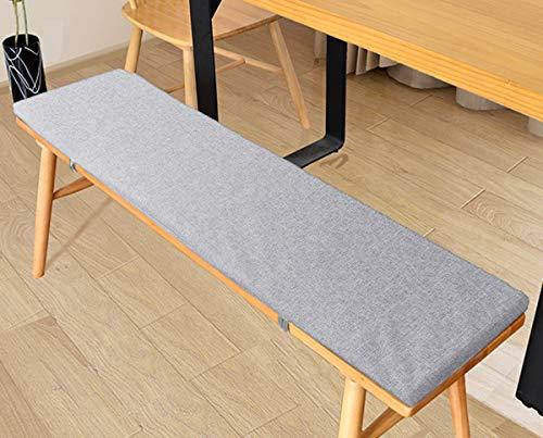 LRuilo Cojín de banco con lazos de fijación, cojín de jardín de 2 o 3 plazas, cojín de asiento de banco de 80/100/120 cm, cojín de silla para interior y exterior (gris, 100 x 30 cm)