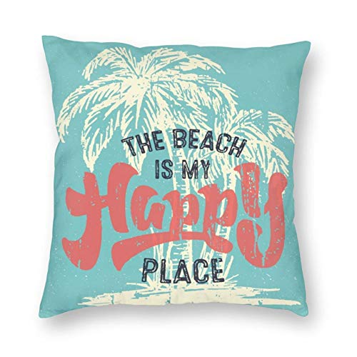 niBBuns Decorative pillowcaseThe Beach is My Happy Place with Palm Tree Letter,Square Cushion Cover Standard Pillowcase for Men Women Home Decorative, 18x18 inch