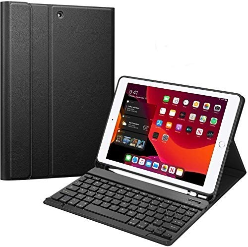 ProElite Detachable Wireless Bluetooth Keyboard case Cover for iPad 2018 (6th Gen), iPad 2017 (5th Gen), iPad Air 2, Air 1, iPad Pro 9.7 with Pencil Holder, Black