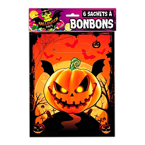 Les Trésors De Lily [Q3153 - 6 süßigkeiten Taschen 'Halloween' kürbis - 28x16 cm.