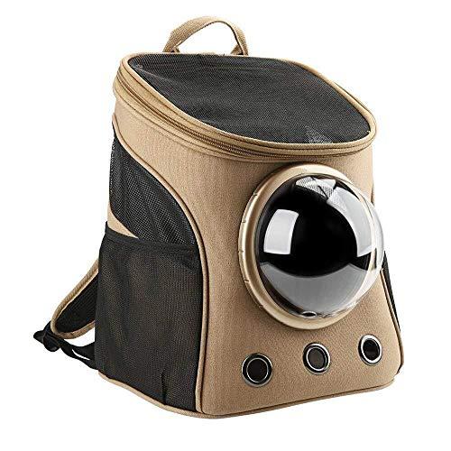 Warm huis huisdier rugzak, Canvas transparant en ademend capsule draagbare huisdier rugzak, voor uitgaan of reizen pakket, jongen en vrouw rugzak, kat en hond rugzak, bruin leuk