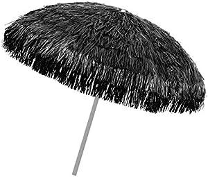 object de signprodukte Ombrellone, Nero, 180/200 cm, Raffia Bast, ombrellone, Stile Hawaiano, 8 Stecche + snodo, ombrellone con Frange, palo