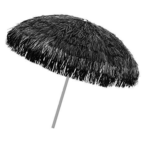 Object, bastschirm, schwarz, 180/200cm, Raffia Bast, Sonnenschirm, Hawaii - Style, 8 Streben + knickgelenk, Sonnenschirm mit Fransen, Bast