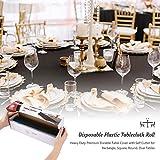 Puricon1.37x33 Meterware Einweg Tischdecke Rolle mit Clip aus Plastik,Frei schneidbar Wasserdicht Wachstuch Rolle (12Stück) Abwaschbar Tischtuch für Garten Buffet Party Hochzeit, Camping -Schwarz - 6