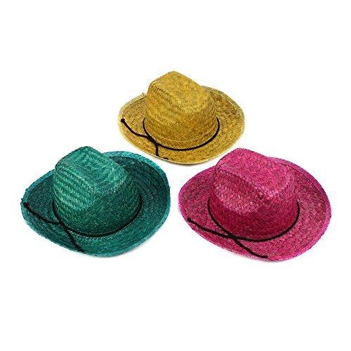 12 Pieces – Straw Cowboy Hat for Men & Women – Cowboy Party Favor Supplies – Assorted Colors